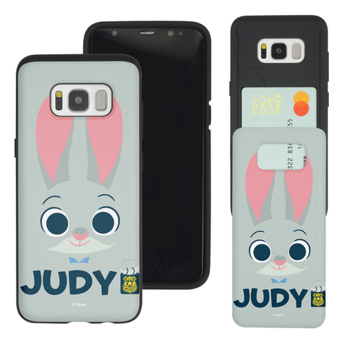 Galaxy S8 Case (5.8inch) Disney Zootopia Dual Layer Card Slide Slot Wallet Bumper Cover - Face Judy