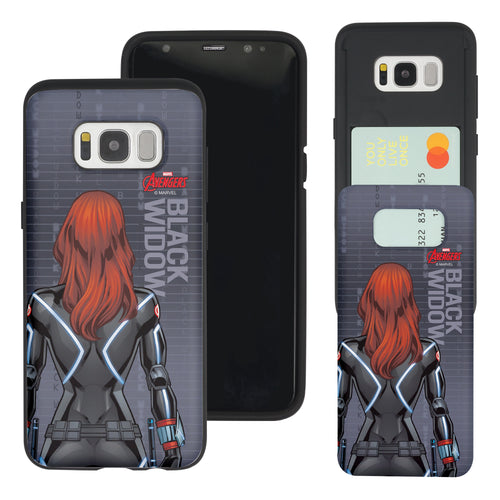 Galaxy S7 Edge Case Marvel Avengers Slim Slider Card Slot Dual Layer Holder Bumper Cover - Back Black Widow