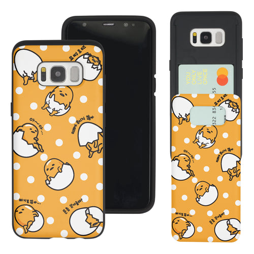 Galaxy S8 Case (5.8inch) Sanrio Slim Slider Card Slot Dual Layer Holder Bumper Cover - Pattern Gudetama Orange