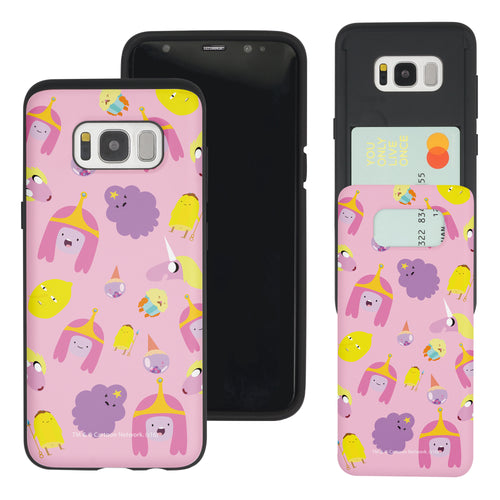 Galaxy S7 Edge Case Adventure Time Slim Slider Card Slot Dual Layer Holder Bumper Cover - Cuty Pattern Pink