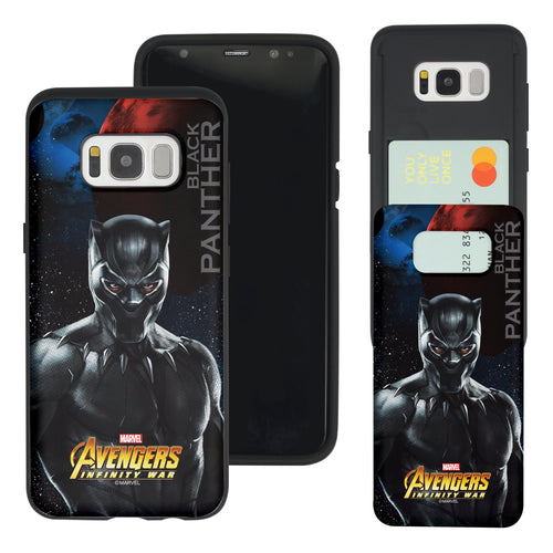 Galaxy S7 Edge Case Marvel Avengers Slim Slider Card Slot Dual Layer Holder Bumper Cover - Infinity War Black Panther