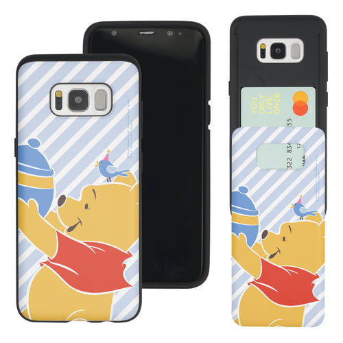 Galaxy S8 Case (5.8inch) Disney Pooh Slim Slider Card Slot Dual Layer Holder Bumper Cover - Stripe Pooh Bird