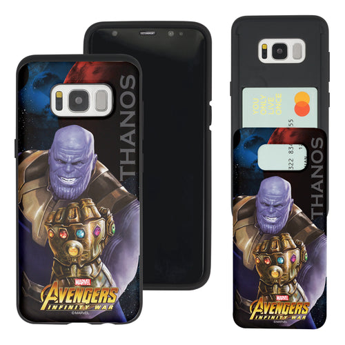 Galaxy S7 Edge Case Marvel Avengers Slim Slider Card Slot Dual Layer Holder Bumper Cover - Infinity War Thanos