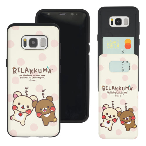 Galaxy S8 Plus Case Rilakkuma Slim Slider Card Slot Dual Layer Holder Bumper Cover - Chairoikoguma Jump