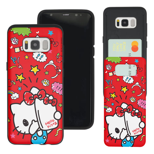 Galaxy S8 Case (5.8inch) Sanrio Slim Slider Card Slot Dual Layer Holder Bumper Cover - Selfie Hello Kitty