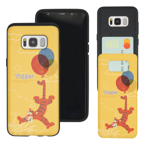 Galaxy S8 Case (5.8inch) Disney Pooh Slim Slider Card Slot Dual Layer Holder Bumper Cover - Balloon Tigger