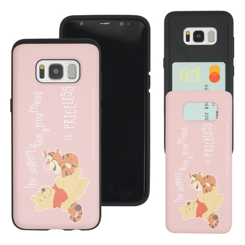 Galaxy S8 Case (5.8inch) Disney Pooh Slim Slider Card Slot Dual Layer Holder Bumper Cover - Words Pooh Tigger