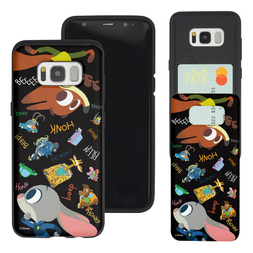 Galaxy S8 Case (5.8inch) Disney Zootopia Dual Layer Card Slide Slot Wallet Bumper Cover - Zootopia Black