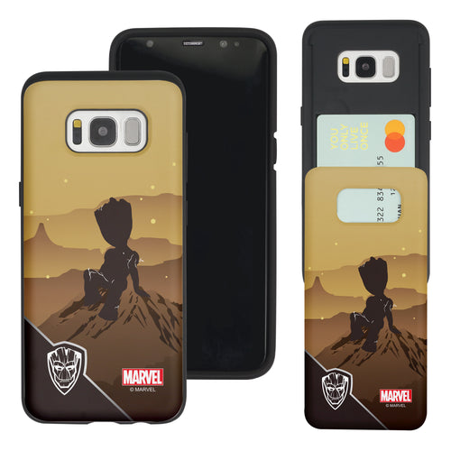 Galaxy S7 Edge Case Marvel Avengers Slim Slider Card Slot Dual Layer Holder Bumper Cover - Shadow Groot