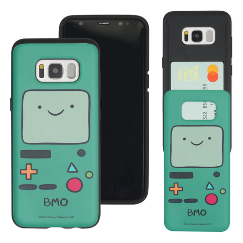 Galaxy S8 Plus Case Adventure Time Slim Slider Card Slot Dual Layer Holder Bumper Cover - Beemo (BMO)