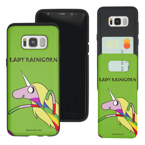 Galaxy S8 Case (5.8inch) Adventure Time Slim Slider Card Slot Dual Layer Holder Bumper Cover - Lovely Lady Rainicorn