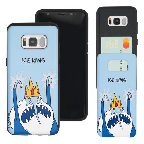 Galaxy S8 Plus Case Adventure Time Slim Slider Card Slot Dual Layer Holder Bumper Cover - Lovely Ice King
