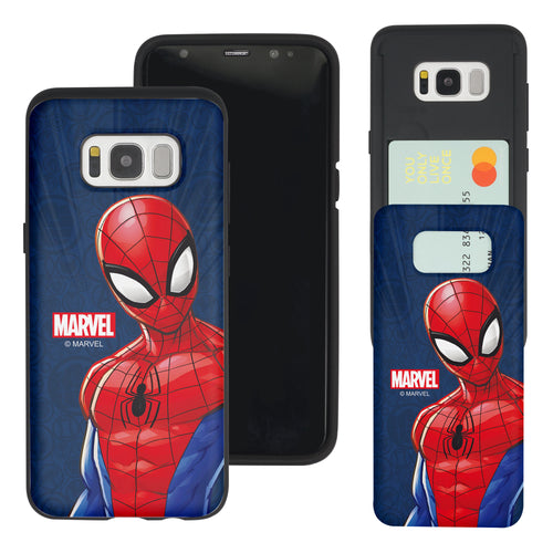 Galaxy S7 Edge Case Marvel Avengers Slim Slider Card Slot Dual Layer Holder Bumper Cover - Illustration Spider Man