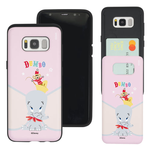 Galaxy S8 Case (5.8inch) Disney Dumbo Slim Slider Card Slot Dual Layer Holder Bumper Cover - Dumbo Overhead