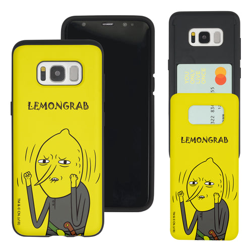 Galaxy S8 Plus Case Adventure Time Slim Slider Card Slot Dual Layer Holder Bumper Cover - Lovely Lemongrab