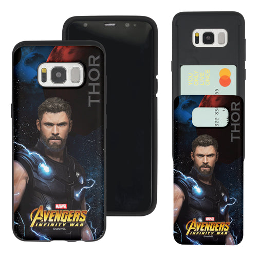 Galaxy S7 Edge Case Marvel Avengers Slim Slider Card Slot Dual Layer Holder Bumper Cover - Infinity War Thor