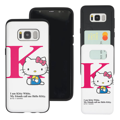 Galaxy S8 Case (5.8inch) Sanrio Slim Slider Card Slot Dual Layer Holder Bumper Cover - Hello Kitty K