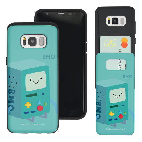 Galaxy S8 Case (5.8inch) Adventure Time Slim Slider Card Slot Dual Layer Holder Bumper Cover - Cuty BMO