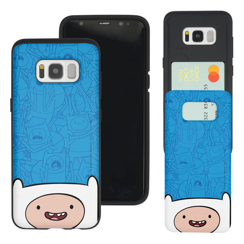 Galaxy S8 Plus Case Adventure Time Slim Slider Card Slot Dual Layer Holder Bumper Cover - Pattern Finn Big