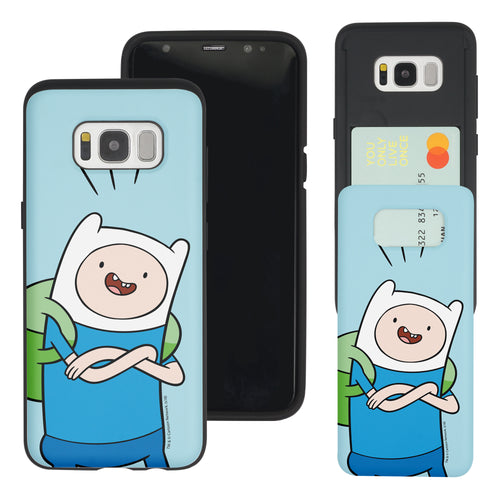 Galaxy S8 Plus Case Adventure Time Slim Slider Card Slot Dual Layer Holder Bumper Cover - Vivid Finn