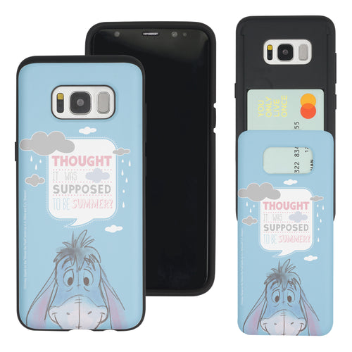 Galaxy S8 Case (5.8inch) Disney Pooh Slim Slider Card Slot Dual Layer Holder Bumper Cover - Words Eeyore Face