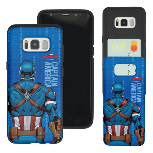 Galaxy S7 Edge Case Marvel Avengers Slim Slider Card Slot Dual Layer Holder Bumper Cover - Back Captain America