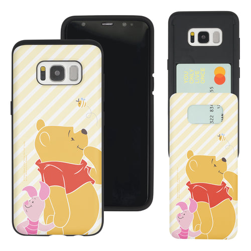 Galaxy S7 Edge Case Disney Pooh Slim Slider Card Slot Dual Layer Holder Bumper Cover - Stripe Pooh Bee