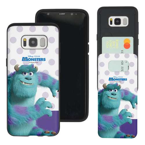 Galaxy S8 Plus Case Monsters University inc Slim Slider Card Slot Dual Layer Holder Bumper Cover - Movie Sulley