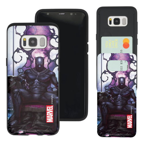 Galaxy S7 Edge Case Marvel Avengers Slim Slider Card Slot Dual Layer Holder Bumper Cover - Black Panther Sit