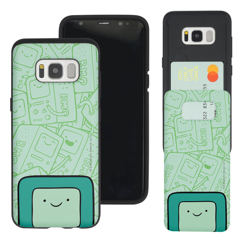 Galaxy S8 Plus Case Adventure Time Slim Slider Card Slot Dual Layer Holder Bumper Cover - Pattern BMO Big