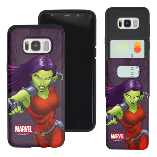 Galaxy S7 Edge Case Marvel Avengers Slim Slider Card Slot Dual Layer Holder Bumper Cover - Illustration Gamora