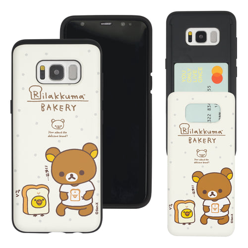 Galaxy S8 Plus Case Rilakkuma Slim Slider Card Slot Dual Layer Holder Bumper Cover - Rilakkuma Bread