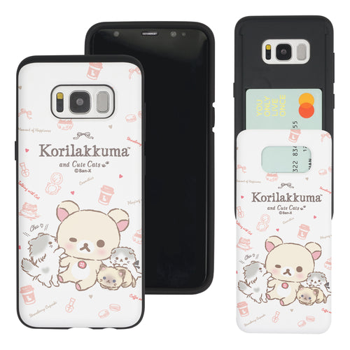 Galaxy S8 Plus Case Rilakkuma Slim Slider Card Slot Dual Layer Holder Bumper Cover - Korilakkuma Cat