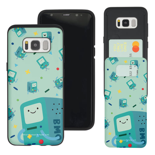 Galaxy S8 Case (5.8inch) Adventure Time Slim Slider Card Slot Dual Layer Holder Bumper Cover - Cuty Pattern BMO