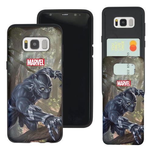 Galaxy S7 Edge Case Marvel Avengers Slim Slider Card Slot Dual Layer Holder Bumper Cover - Black Panther Jungle