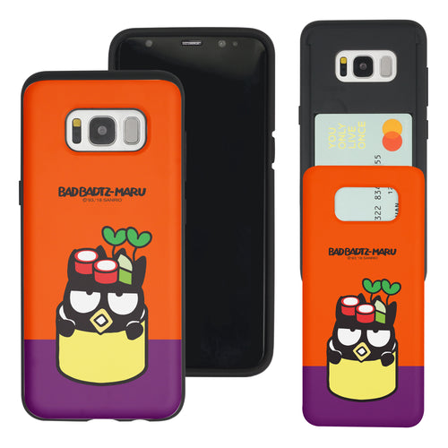 Galaxy Note5 Case Sanrio Slim Slider Card Slot Dual Layer Holder Bumper Cover - Sushi Bad Badtz-Maru Salad