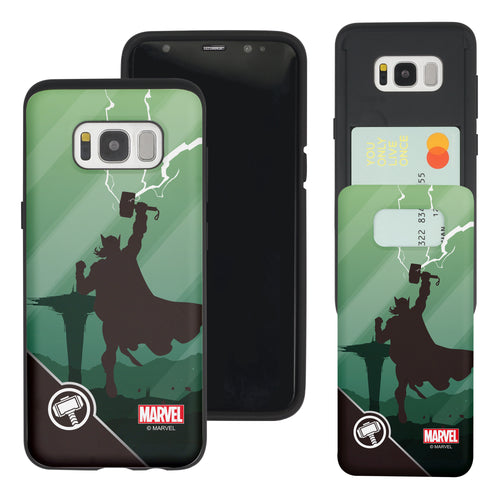 Galaxy S7 Edge Case Marvel Avengers Slim Slider Card Slot Dual Layer Holder Bumper Cover - Shadow Thor