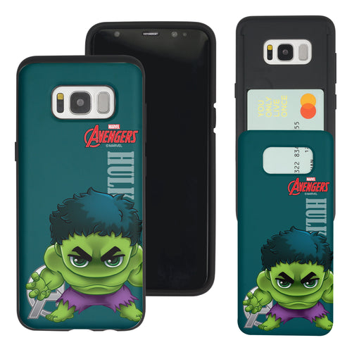 Galaxy S7 Edge Case Marvel Avengers Slim Slider Card Slot Dual Layer Holder Bumper Cover - Mini Hulk
