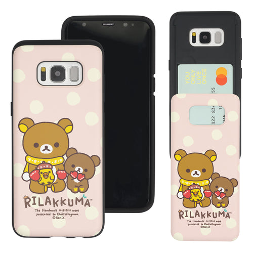 Galaxy S8 Plus Case Rilakkuma Slim Slider Card Slot Dual Layer Holder Bumper Cover - Chairoikoguma Sit