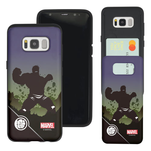 Galaxy S7 Edge Case Marvel Avengers Slim Slider Card Slot Dual Layer Holder Bumper Cover - Shadow Hulk