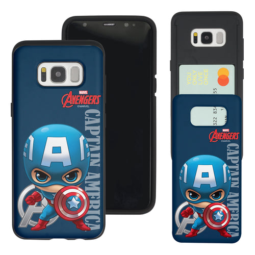 Galaxy S7 Edge Case Marvel Avengers Slim Slider Card Slot Dual Layer Holder Bumper Cover - Mini Captain America