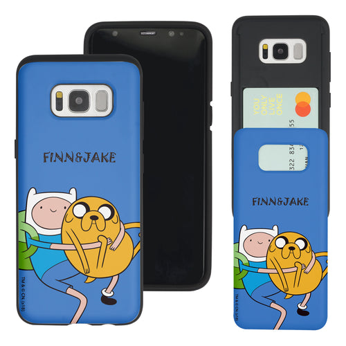 Galaxy S8 Plus Case Adventure Time Slim Slider Card Slot Dual Layer Holder Bumper Cover - Lovely Finn and Jake