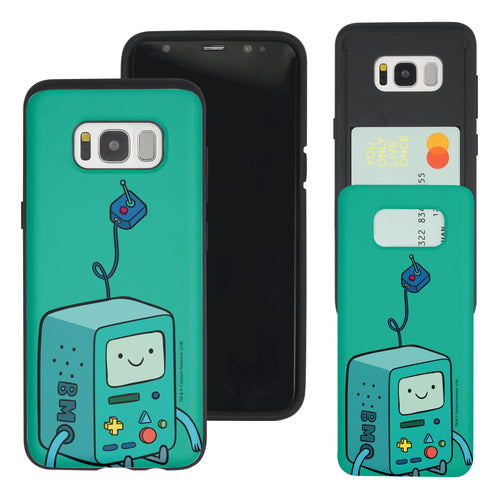 Galaxy S7 Edge Case Adventure Time Slim Slider Card Slot Dual Layer Holder Bumper Cover - Vivid BMO