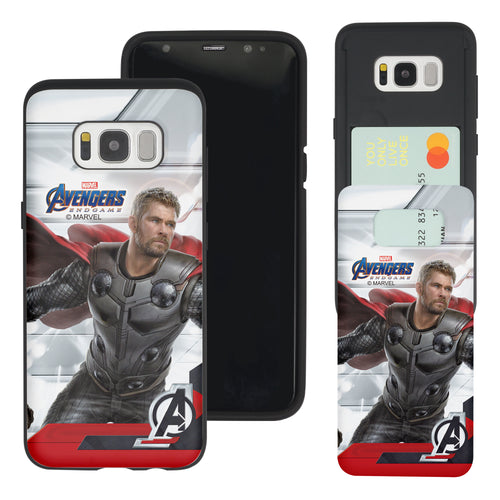 Galaxy S7 Edge Case Marvel Avengers Slim Slider Card Slot Dual Layer Holder Bumper Cover - End Game Thor