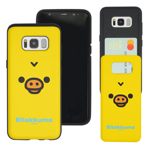 Galaxy S8 Plus Case Rilakkuma Slim Slider Card Slot Dual Layer Holder Bumper Cover - Face Kiiroitori