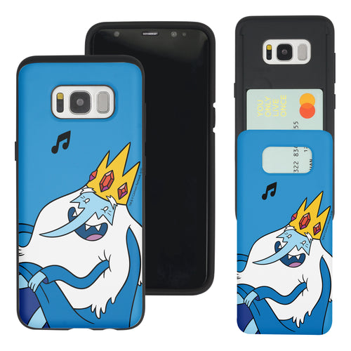 Galaxy S7 Edge Case Adventure Time Slim Slider Card Slot Dual Layer Holder Bumper Cover - Vivid Ice King