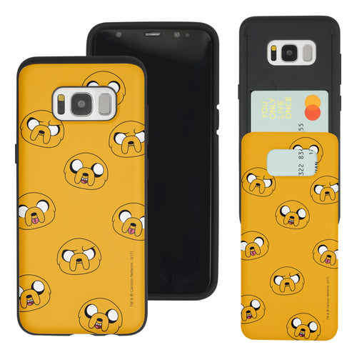 Galaxy S7 Edge Case Adventure Time Slim Slider Card Slot Dual Layer Holder Bumper Cover - Pattern Jake