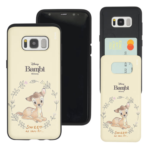 Galaxy S8 Case (5.8inch) Disney Bambi Slim Slider Card Slot Dual Layer Holder Bumper Cover - Full Bambi