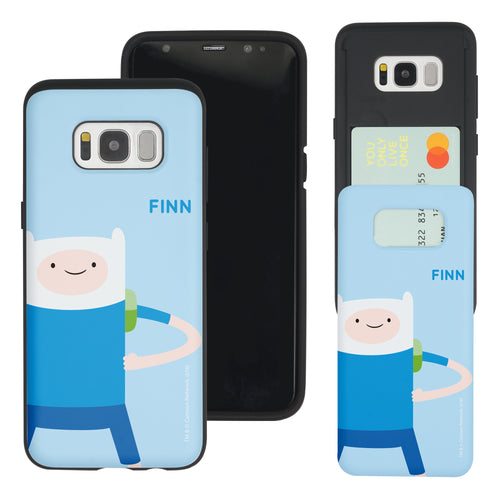 Galaxy S8 Plus Case Adventure Time Slim Slider Card Slot Dual Layer Holder Bumper Cover - Cuty Finn