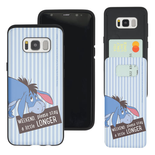 Galaxy S8 Case (5.8inch) Disney Pooh Slim Slider Card Slot Dual Layer Holder Bumper Cover - Words Eeyore Stripe